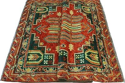 Noori Rug Balochi Ronna Orange/Green Rug, 4'10 x 6'5