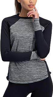 playera de compresión de manga larga para mujer – playera térmica para correr, ajuste seco con agujeros para los pulgares