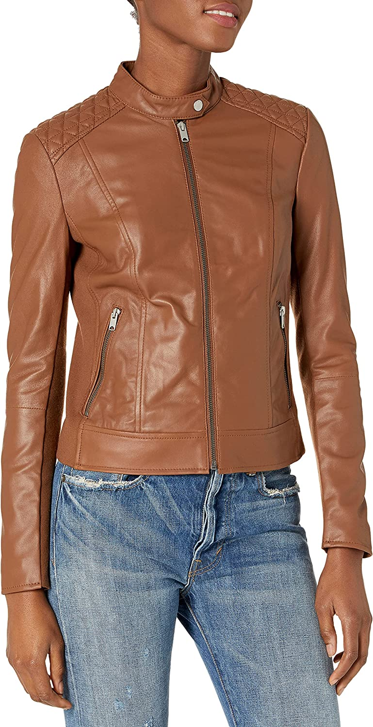 Marc New York by Andrew Marc Women's Glenbrook Feather Leather Jacket