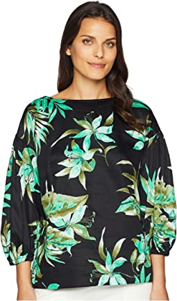 Print Bishop-Sleeve Top