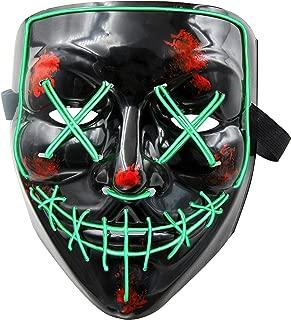 LED Maske Purge Maske mit 3 Blitzmodi für Halloween Fasching Karneval Party Kostüm Cosplay Dekoration Halloween Gruselige Maske(Grün)