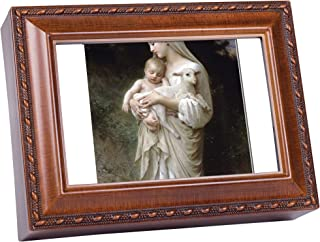 Cottage Garden Blessed Virgin Mary Innocence Wood Finish Jewelry Music Box Plays Ave Maria