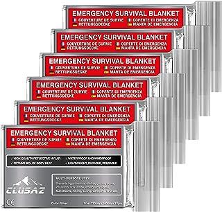 CLUSAZ® 6 Couvertures de Survie XL (210cm x 160cm) - Retient 90% de la Chaleur, Imperméable, Coupe-Vent, Parfait pour le S...