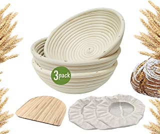 9 inch Banneton Proofing Baskets for Sourdough Bread | Wicker Round Brotform Set with Bamboo Dough Scraper & Cloth Liners | Food-Safe Cane Bread Proofer for Rising (3 Pack 9