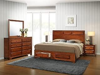 Roundhill Furniture Oakland 139 Antique Bed Room Set, King, Oak Finish