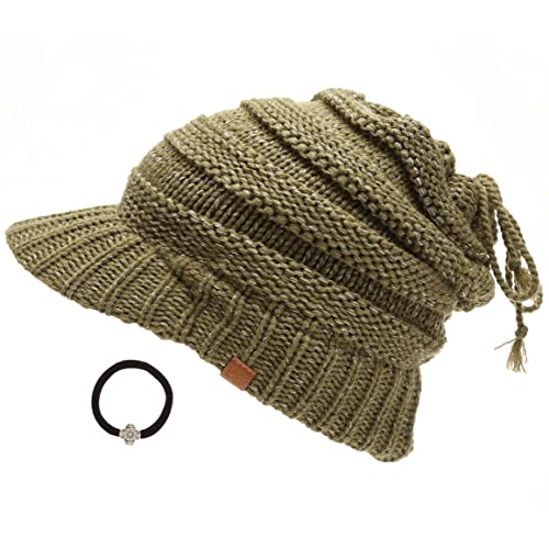3bf5c19143f2f D Y Women s Beanie Tail Cable Knit Visor Ponytail Beanie Hat with Hair ...