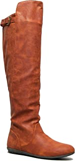 Delura Over The Knee Flat Riding Boot - Vegan Leather Pull On - Comfortable Walking Cosplay Costume Boot Mystere Boot