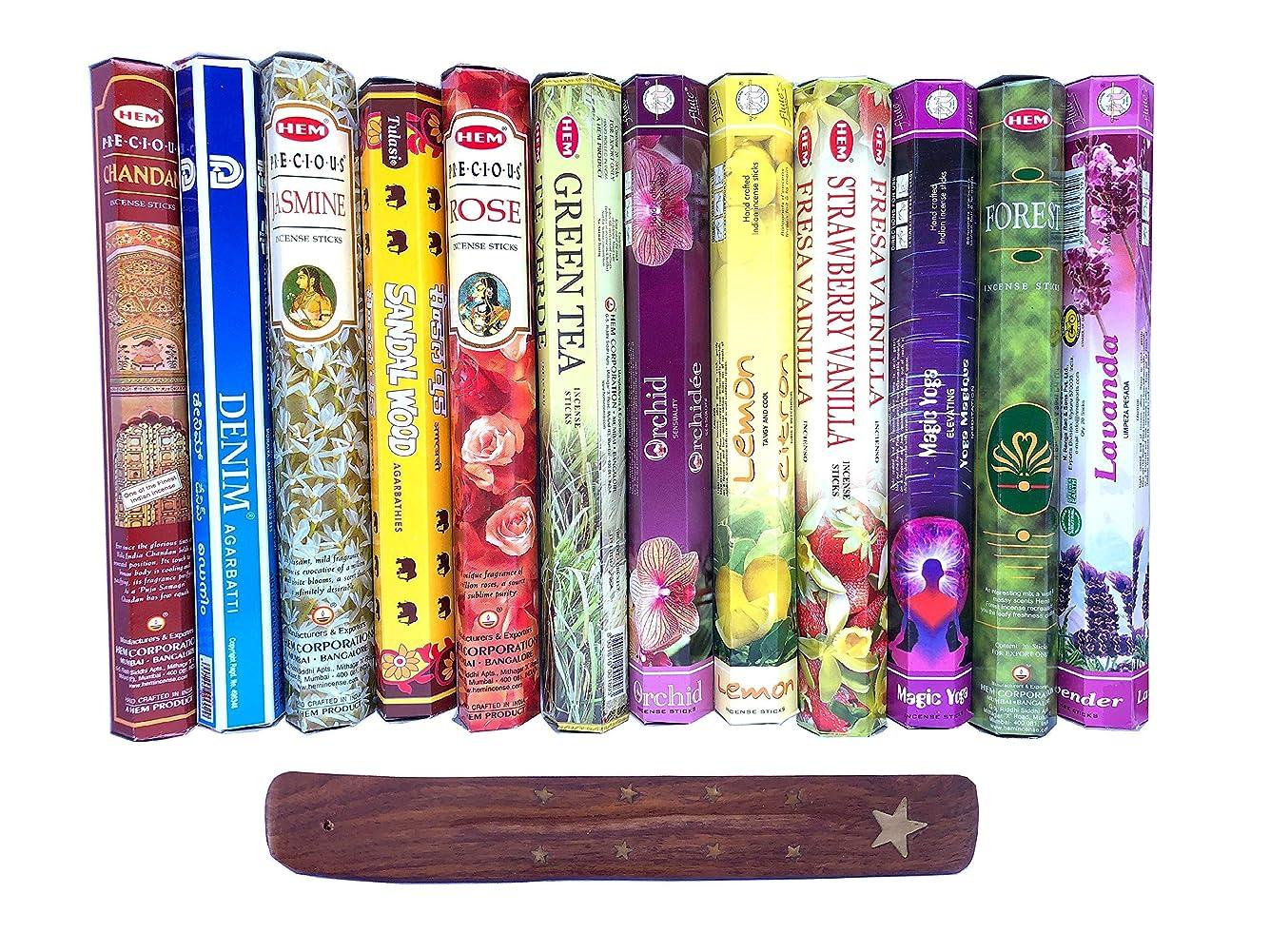 飢饉音声階層インド お香12種類と木のお香立セット スティック アソートパック アロマ