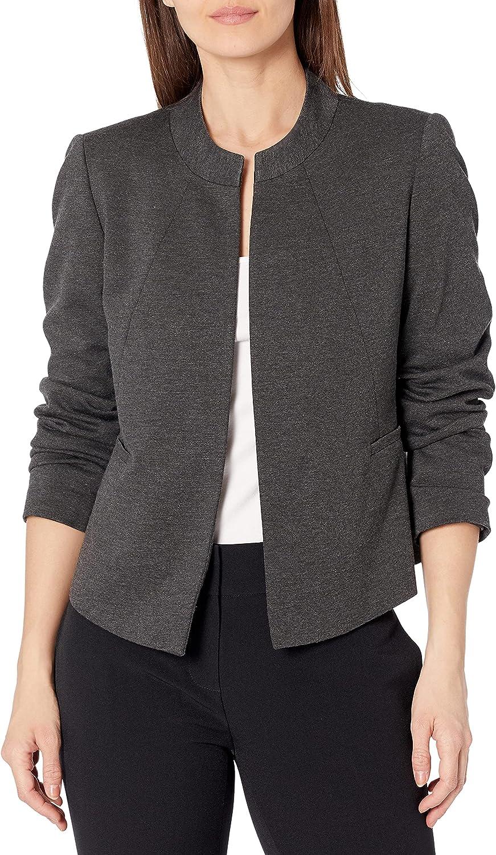 Kasper Women's Petite Size Collarless Jacket Ponte Special sale item Nippon regular agency Flyaway