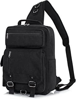 H HIKKER-LINK Mens Messenger Bag Sling Backpack Crossbody Travel Knapsack Black
