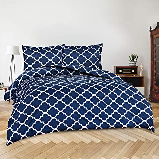 Utopia Bedding 3pc Duvet Cover with 2 Pillow Shams (Queen, Printed Navy)