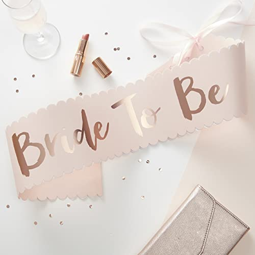 Ginger Ray Pink & Rose Gold Classy Designer Bride To Be Sash - Team Bride