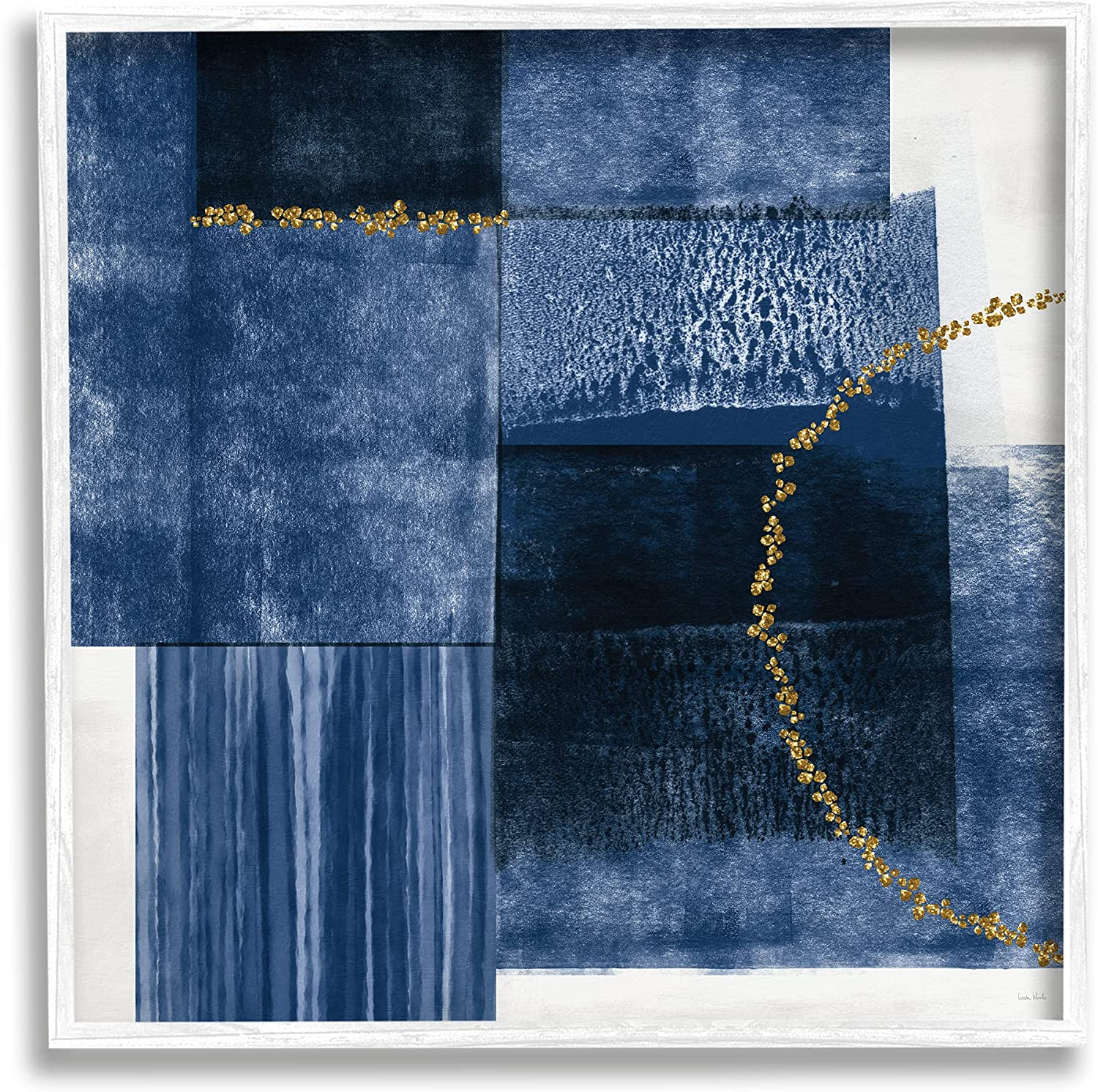 Stupell Industries Layered Blue Rectangle Shapes Gold Curve Abstraction, Designed by Linda Woods White Framed Wall Art
