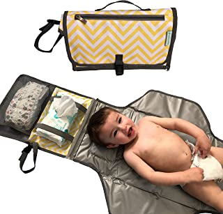 Gupnup Baby Portable Changing Diaper Pad, Head Cushion, Multiple Pockets, Waterproof Changing Station, Large But Compact