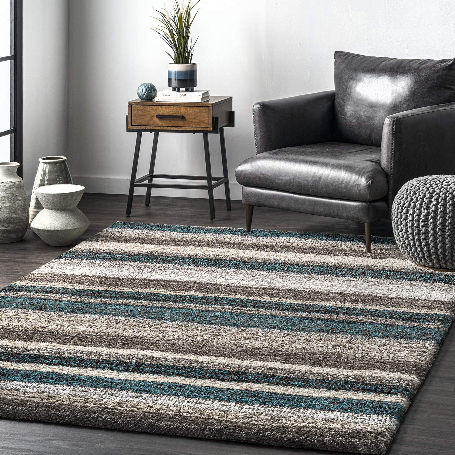 nuLOOM Classie Hand Tufted 100% quality warranty Dealing full price reduction Shag Area Rug Blue Multi Square 6'
