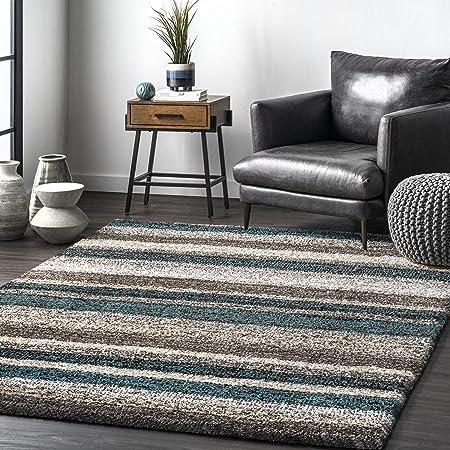Nuloom Classie Hand Tufted Shag Area Rug 4 X 6 Blue Multi Furniture Decor