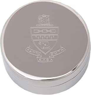 Kappa Alpha Theta Round Engraved Pin Box Sorority Greek Decorative Case Great for Rings, Badges, Jewelry (Round Metal Crest Pin Box)