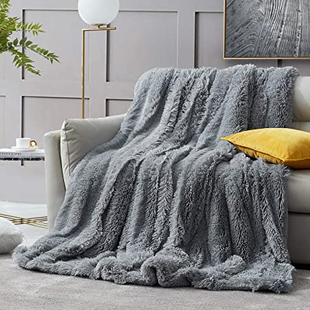 """Luxury Plush Faux Fur Blanket for Bed Sofa Couch Decortive Fluffy Throw 60/""""x80/"""""""