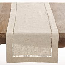 """SARO LIFESTYLE Toscana Collection Poly and Linen Blend Table Runner with Hemstitch Border, 16"""" x 72"""", Natural"""