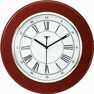 "Tempus TC6027R Wall Clock with Finish Wood Frame and Daylight Saving Time Auto-Adjust Movement, 13"", Mahogany"