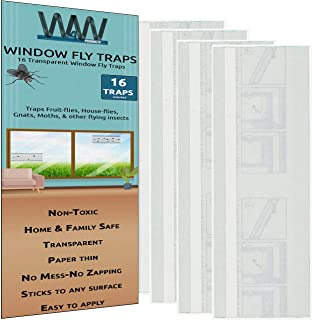 Flies & Bug Window Fly Trap - Indoor/Outdoor Non Toxic Clear Window Fly Traps - 16 Pack