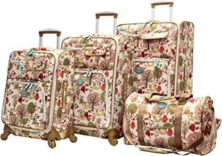 Lily Bloom Luggage Set 4 Piece Suitcase Collection With Spinner Wheels For Woman (Forest)