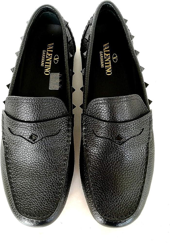 Valentino vltn, scarpe mocassini driver,per  uomo, in pelle e borchie RY2S0B75WVG