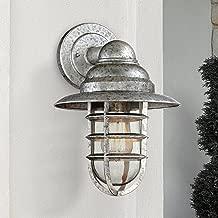 Marlowe Modern Outdoor Wall Light Fixture Galvanized Hooded 13 1/4