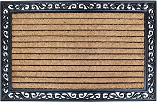 A1HC FIRST IMPRESSION Striped Doormat  Rubber and Coir Doormat   30 x 48 Inch   Standard Double Doormat  Natural Fade   Large Size Doormat  Rubber Backed   Outdoor Mat