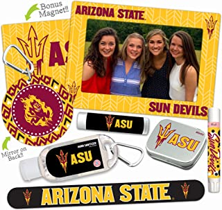 Arizona State Sun Devils Deluxe Variety Set with Nail File, Mint Tin, Mini Mirror, Magnet Frame, Lip Shimmer, Lip Balm, Sanitizer. NCAA Gifts and Gear for Women, Mother's Day