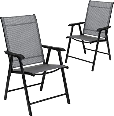 Flash Furniture Black Outdoor Folding Patio Sling Chair (2 Pack)