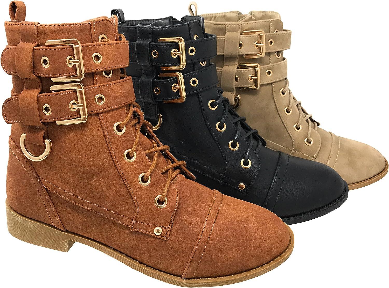 MVE shoes Women's Fashion Combat Lace Up Buckle Boots