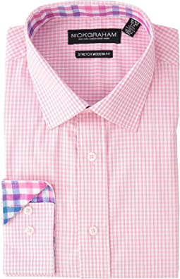 Mini Windowpane Check Stretch Shirt
