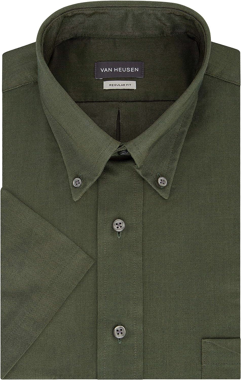 1960s Mens Shirts | 60s Mod Shirts, Hippie Shirts Van Heusen Mens Short Sleeve Dress Shirt Regular Fit Oxford Solid  AT vintagedancer.com