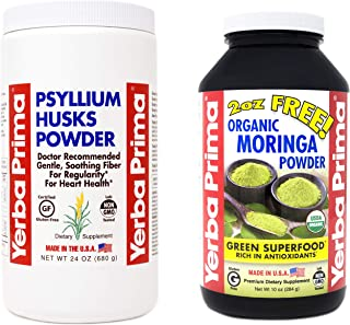 Yerba Prima Psyllium Powder 24oz - and - Moringa Powder 10oz