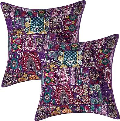 Stylo Culture Bohémien Coton Patchwork Housses de Coussins Vintage Violet 60x60 cm Abstrait Coussin pour Canape Interieur Ethnique Décor Lounge 24x24 Floral Carré Couvre-oreillers (Lot de 2)