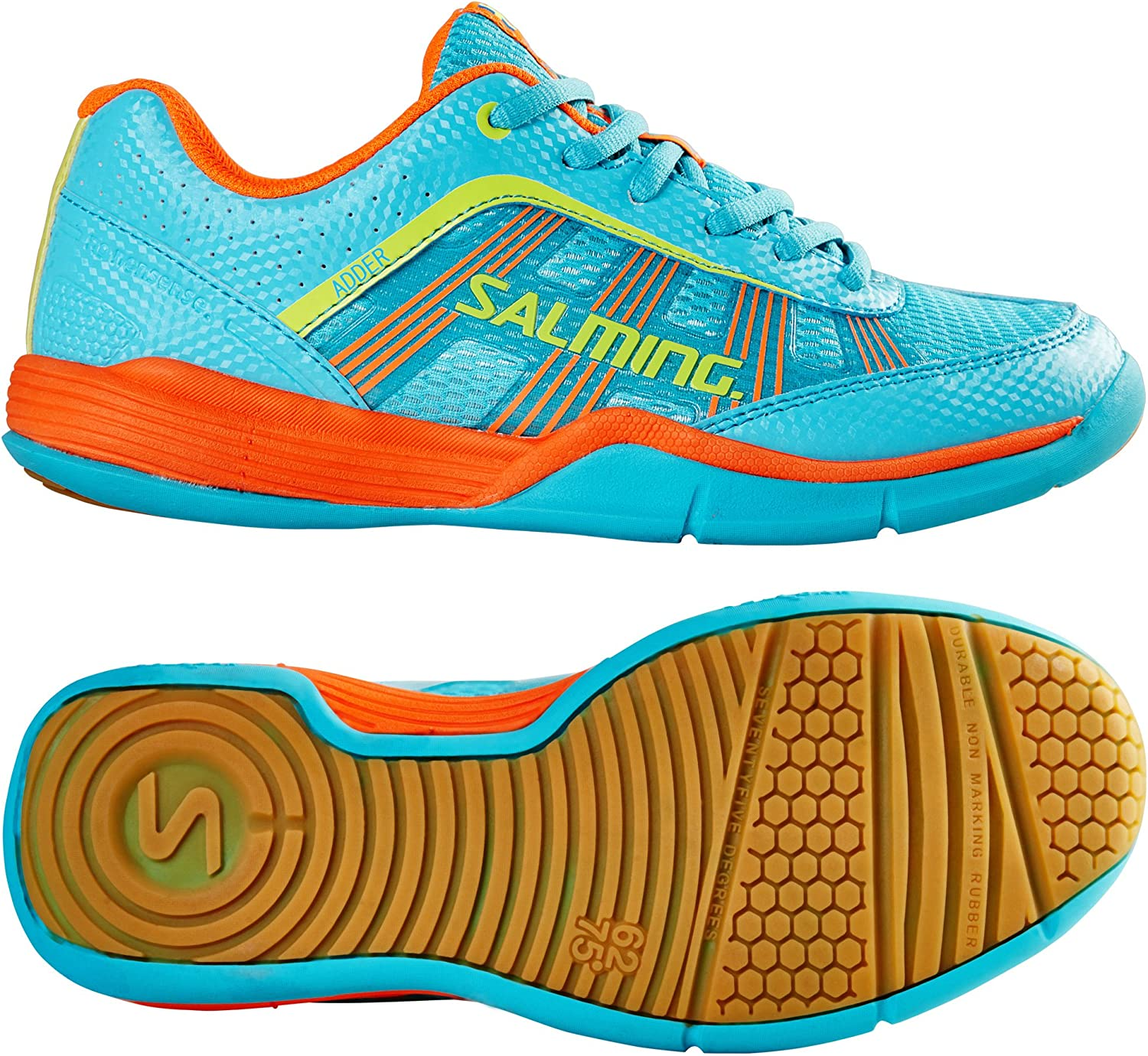 Salming Adder Juniors Indoor Court shoes (Turquoise orange)