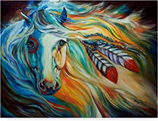 Trademark Fine Art Breaking Dawn Indian War Horse by Marcia Baldwin, 35x47, Multicolor
