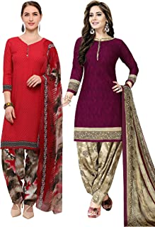 Rajnandini Women's Red and Magenta Crepe Printed Unstitched Salwar Suit Material (Combo Of 2) (Free Size)