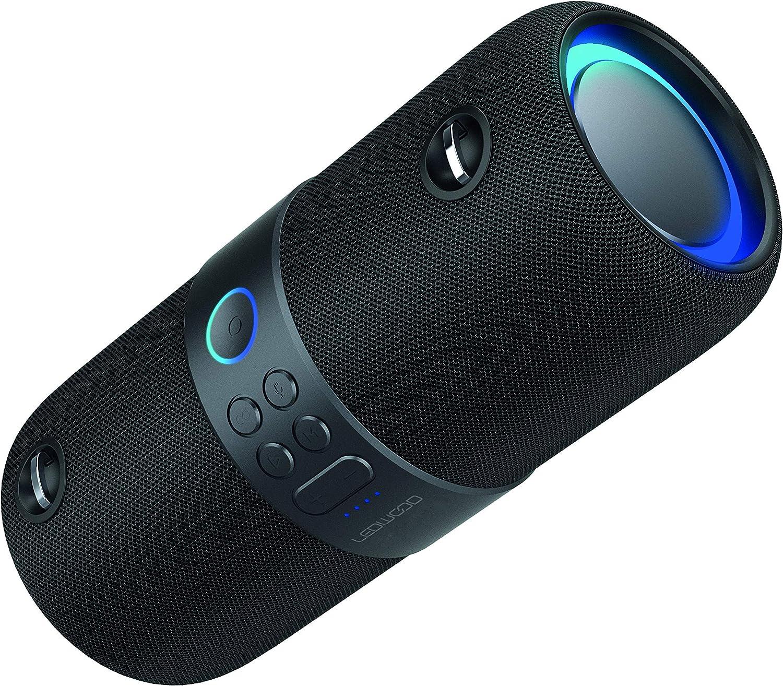 LEDWOOD XT180 TWS Altavoz Bluetooth portátil con correa – Altavoz inalámbrico con luces LED pulsadas – Sonido potente – AUX – Puerto USB – Radio FM – Negro