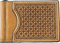 Embossed Tooled Bifold Money Clip Wallet