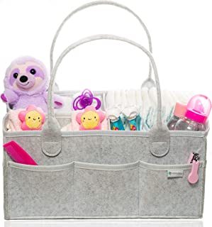 Baby Diaper Caddy Organizer by Family Top Choice - Large Tote Bag for Newborn Essentials - Portable Storage Basket for Nursery Changing Table, Travel and Car -