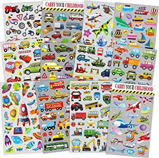 HORIECHALY Transportation Stickers for Kids 12 Sheets with Cars, Airplane, Train , Motorbike, Ambulance, Police Car, Fire Trucks, School Bus, Spaceship, Rocket and More!
