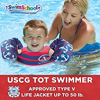 Swimschool USCG Approved TOT Swimmer with Arm Floaties, Type V Life Jacket/PFD, Medium/Large, Navy/Red Nautical