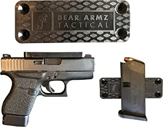 Gun Magnet Mount & Holster For Vehicle And Home I Rubber Coated w/ Adhesive Backing I 35 Lbs Rated I Firearm Accessory I Concealed Holder For Handgun, Shotgun, Pistol, Truck, Car, Wall, Vault