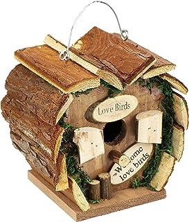 com-four® Boîte gigogne en Bois à Suspendre, nichoir en Forme de cœur pour Oiseaux Sauvages, 17 x 12 x 17 cm (01 pièce - n...