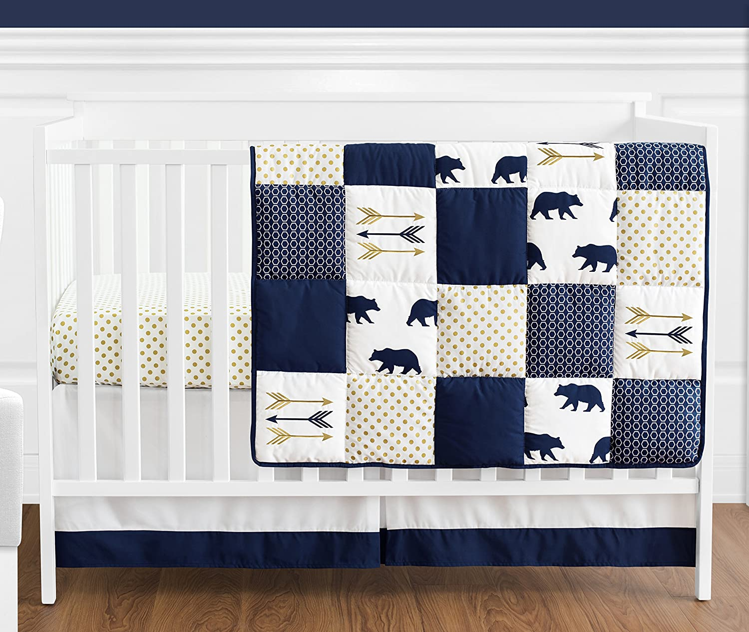 Navy Blue Gold and Super sale White Patchwork Purchase Big Baby Boy Crib Bedd Bear