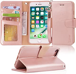 Arae Case for iPhone 7 / iPhone 8, Premium PU Leather Wallet Case with Kickstand and Flip Cover for iPhone 7 (2016)/iPhone 8 (2017) - Rosegold