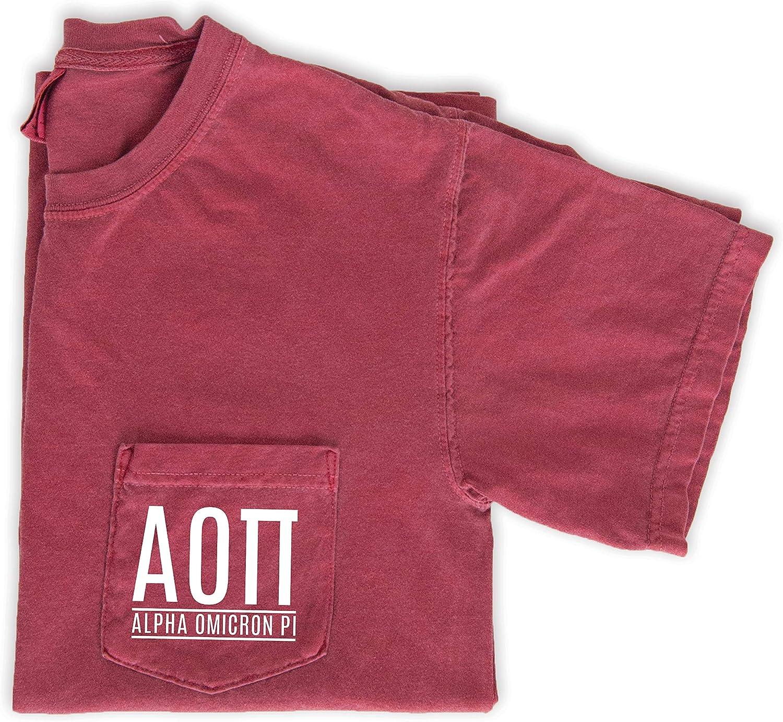 Alpha Omicron Pi Block Letters Pocket TShirt