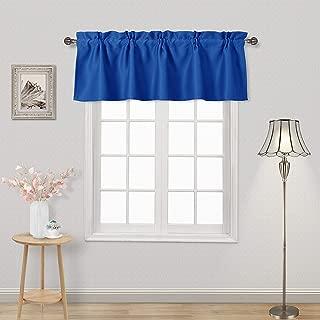 DWCN Blackout Valance Rod Pocket Window Valance Curtains 52 x 18 inch Long,1 Panel, Royal Blue